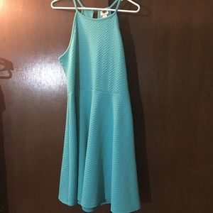 Blue textured halter dress size L Mossimo brand